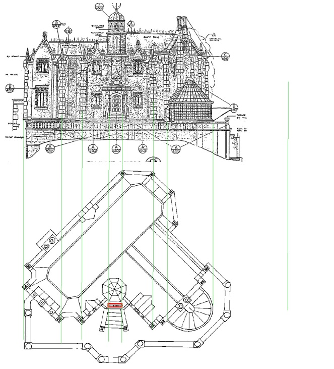 mansion blueprints front and above with lines