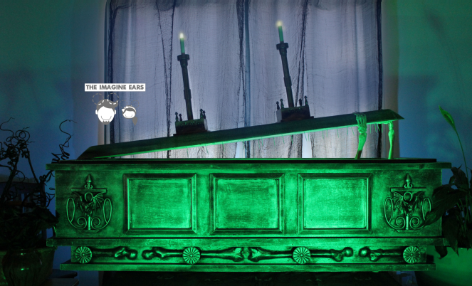 DIY Haunted Mansion coffin out of foam