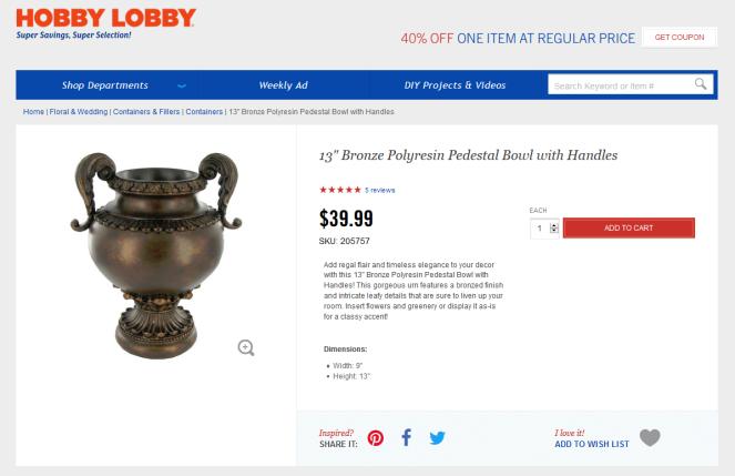 hobby lobby urn
